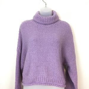 Anthropologie Moth Lilac Chunky Abella Sweater